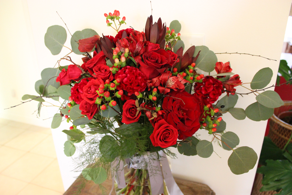 bouquet, bridal bouquet, red flowers, red wedding flowers, evansville florist, evansville indiana
