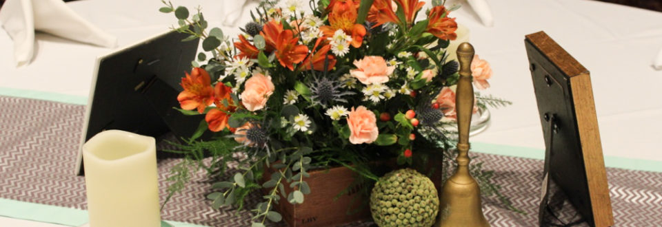 evansville wedding table centerpiece with orange and peach