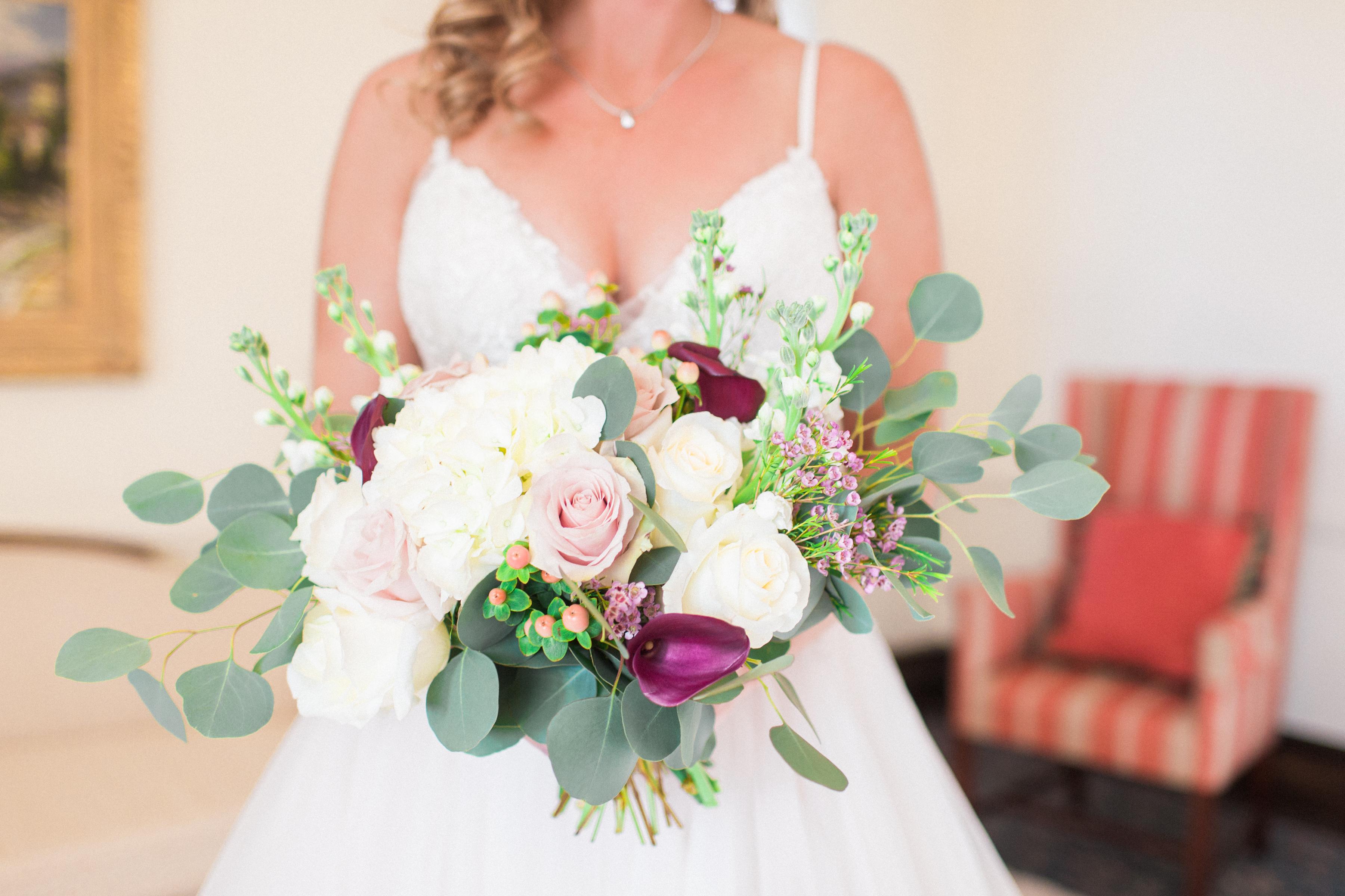 bridal bouquet, blush, white, burgundy