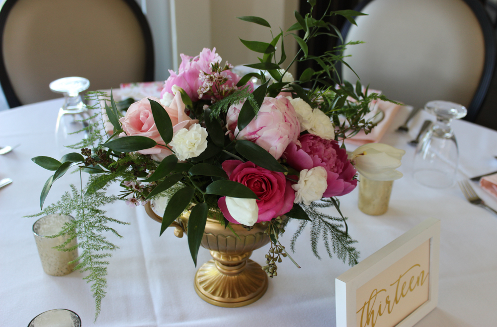 Newburgh wedding centerpiece in pink and white with peonies, carnations, and roses