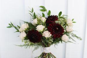 dahlias, roses, blush, burgundy, bridal bouquet