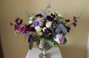 purple flowers, purple wedding, purple floral centerpiece