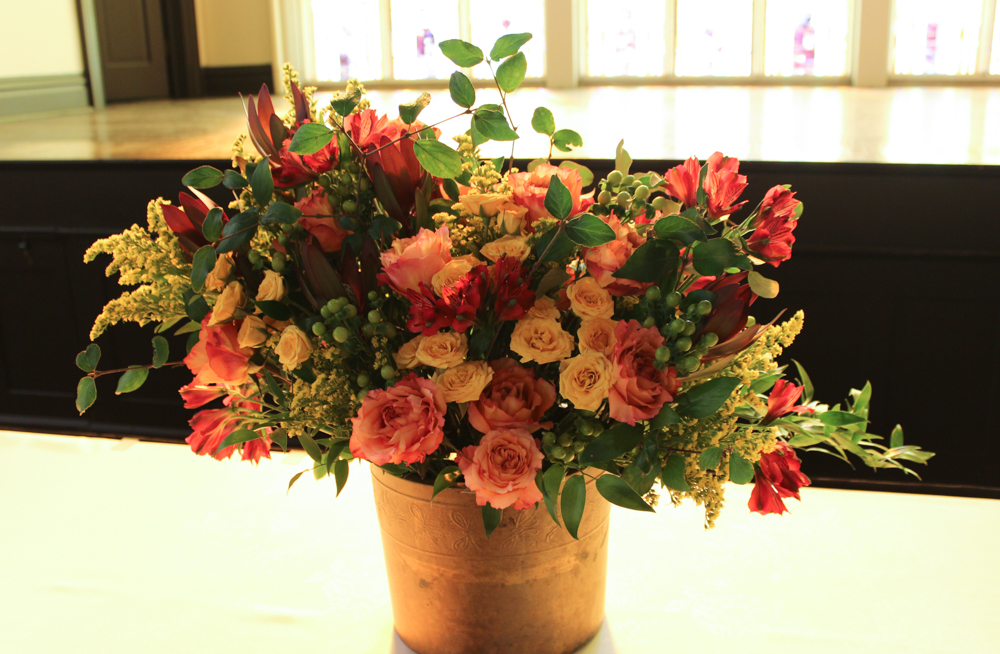 For This 50th Wedding Anniversary I Created A Large Focal Arrangement The Buffet Table Was Asked To Use Fall Colors And Yellow Spray Roses