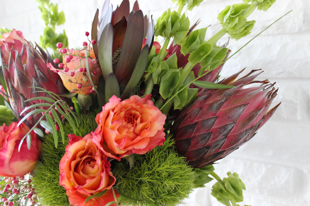 flowers, roses, protea, dianthus, bells of ireland, pepper berry