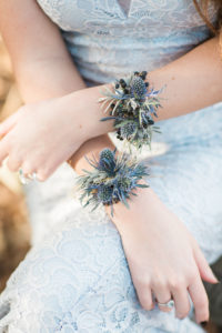 wrist corsage, corsage, blue flowers, blue wedding, wedding flowers, thistle, floral jewelry
