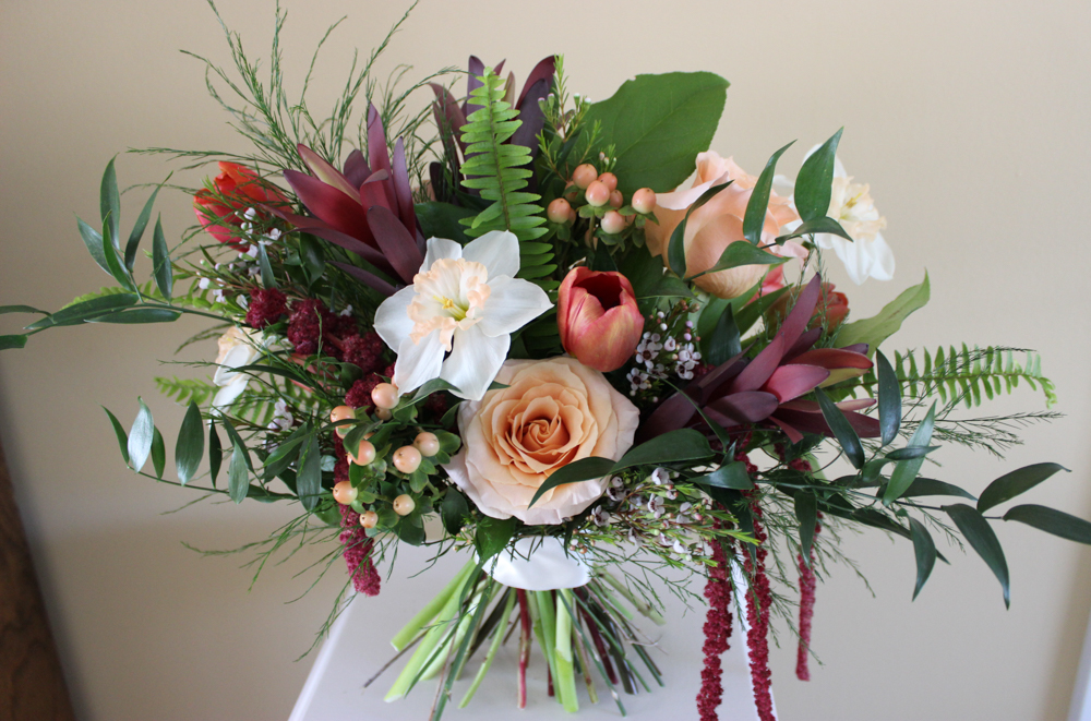 peach and burgundy wine bouquet, evansville wedding