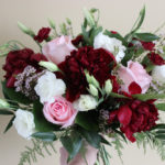 blush and burgundy bouquet, evansville wedding