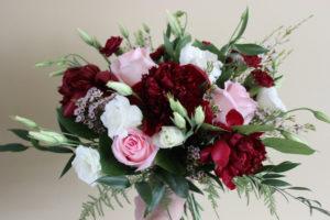 blush and burgundy bouquet, evansville wedding
