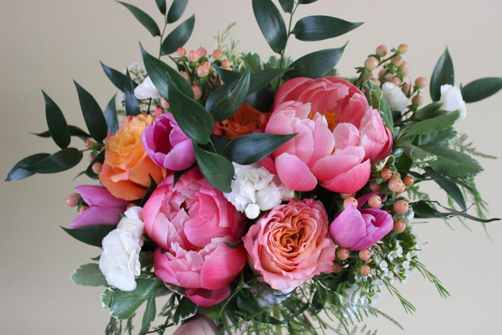 coral bridal bouquet, coral peonies