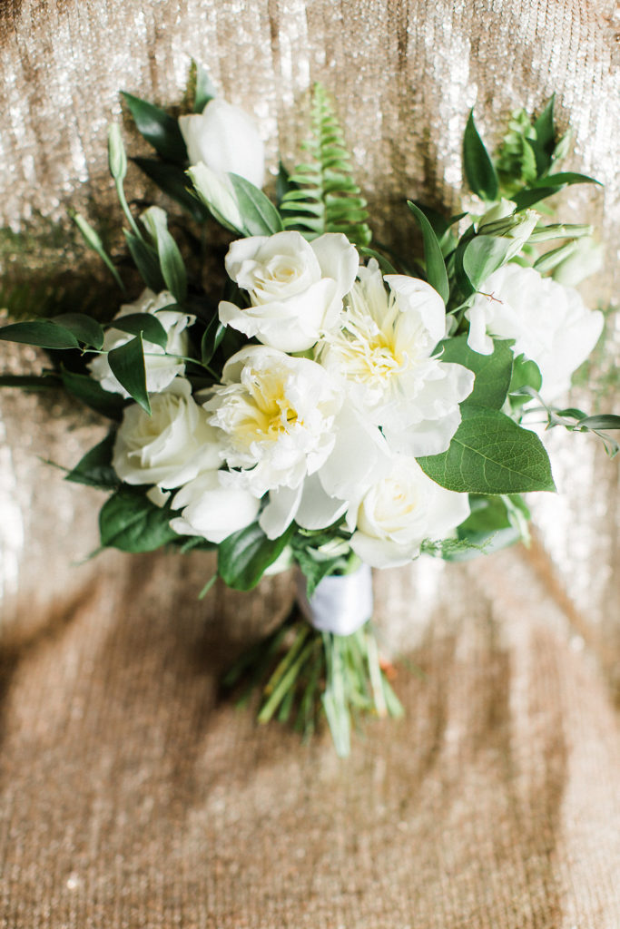 white bridal bouquet, evansville wedding, spring flowers