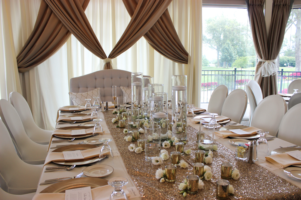 head table decor, white and gold design