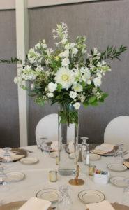 table arrangement, centerpiece, white flowers