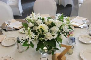 table arrangement centerpiece, white wedding flowers, newburgh indiana