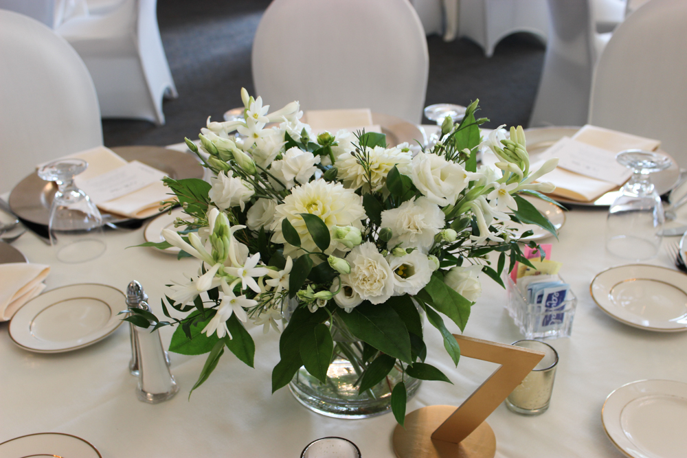 table arrangement centerpiece, white wedding flowers, newburgh indiana