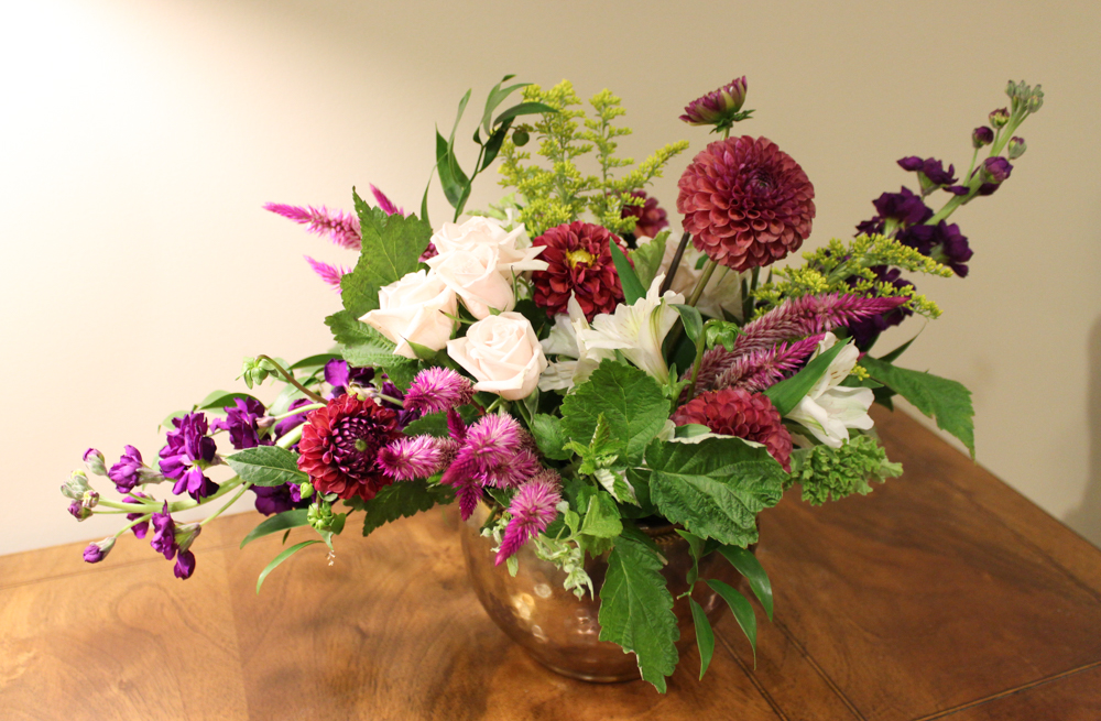 dahlia, rose, celosia, stock, solidago, indiana flowers, local flowers