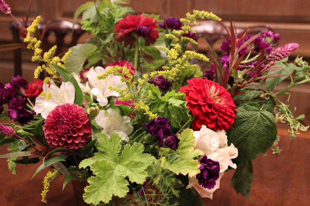 jewel tone flowers, indiana flowers, zinnia, dahlia, solidago, goldenrod, celosia, scented geranium