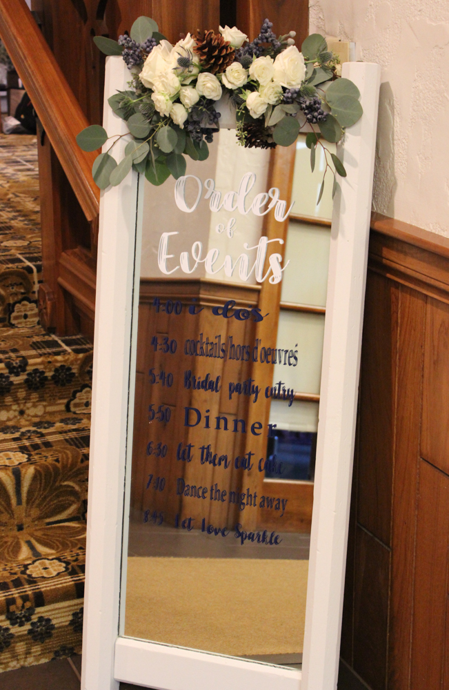 wedding signage, floral spray, Bauerhaus wedding