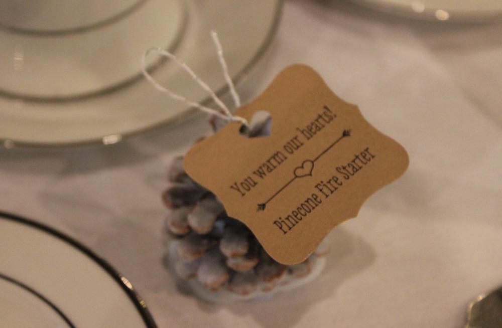 pine cones, wedding favors, fire starter, Bauerhaus wedding, evansville wedding