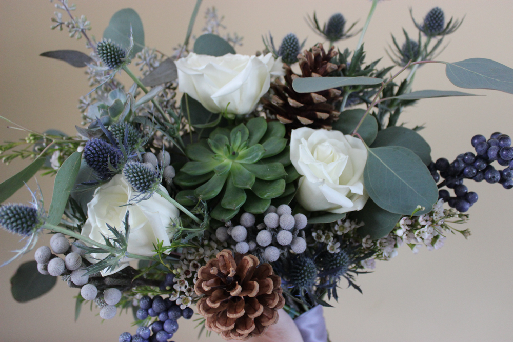 blue and white bouquet, blue and white wedding, succulent bouquet