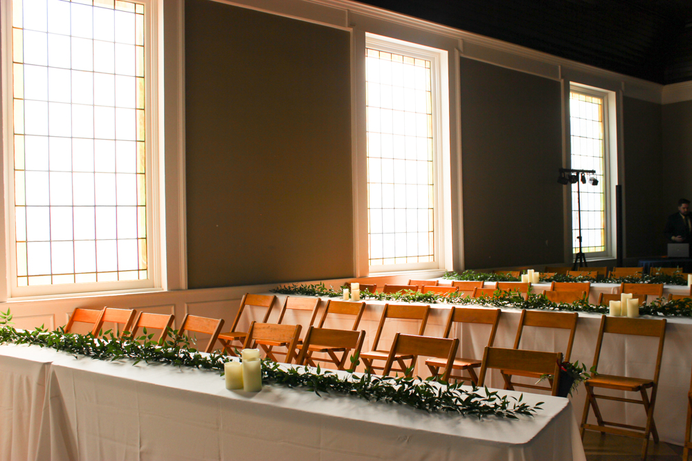 long tables, greenery garland, simple wedding decor