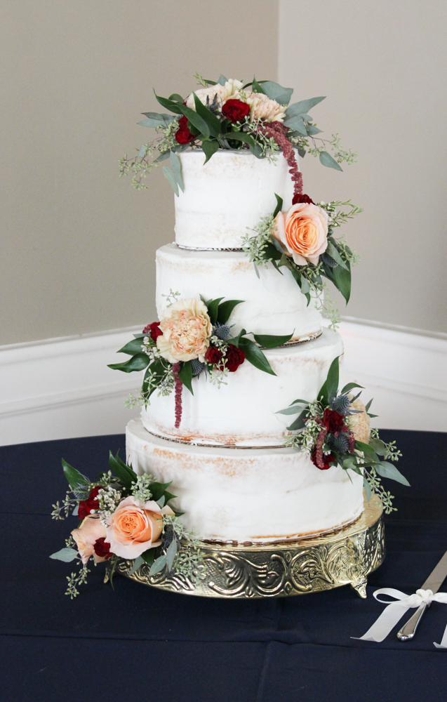 cake flowers, cake with flowers, fall wedding, burgundy and peach