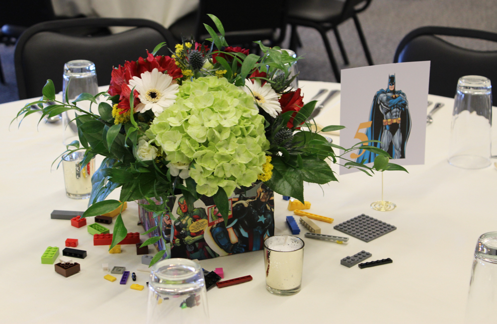superhero, lego, superhero wedding, lego wedding, colorful wedding, colorful flowers, evansville wedding, evansville florist