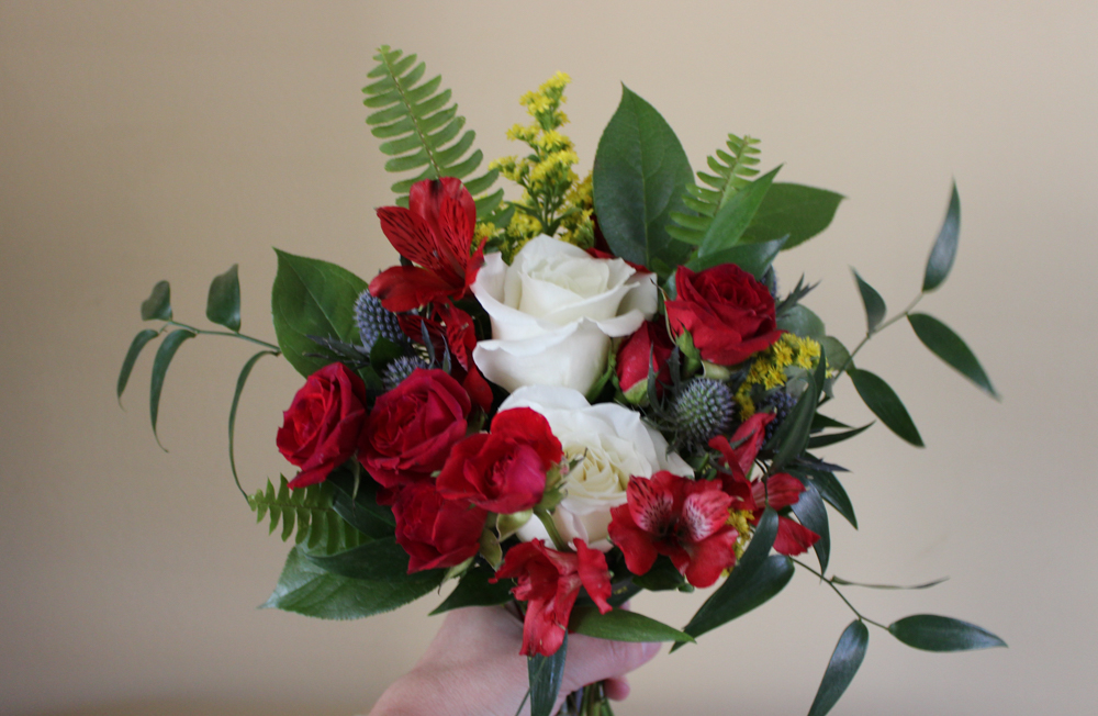 red flowers, bouquet, bridesmaid, bridesmaid bouquet, evansville wedding, evansville florist, evansville indiana