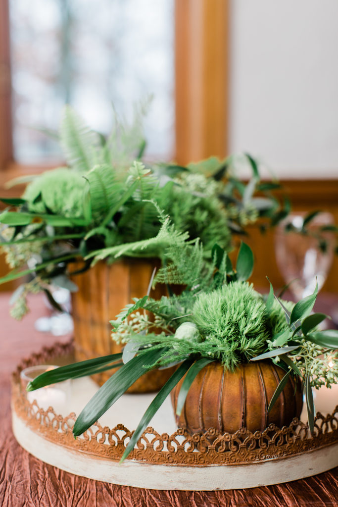green centerpiece, woodland wedding, greenery wedding, evansville wedding, evansville florist, evansville indiana florist, evansville indiana wedding