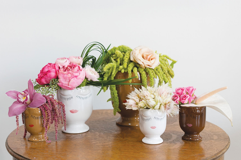creative container, vase, flowers