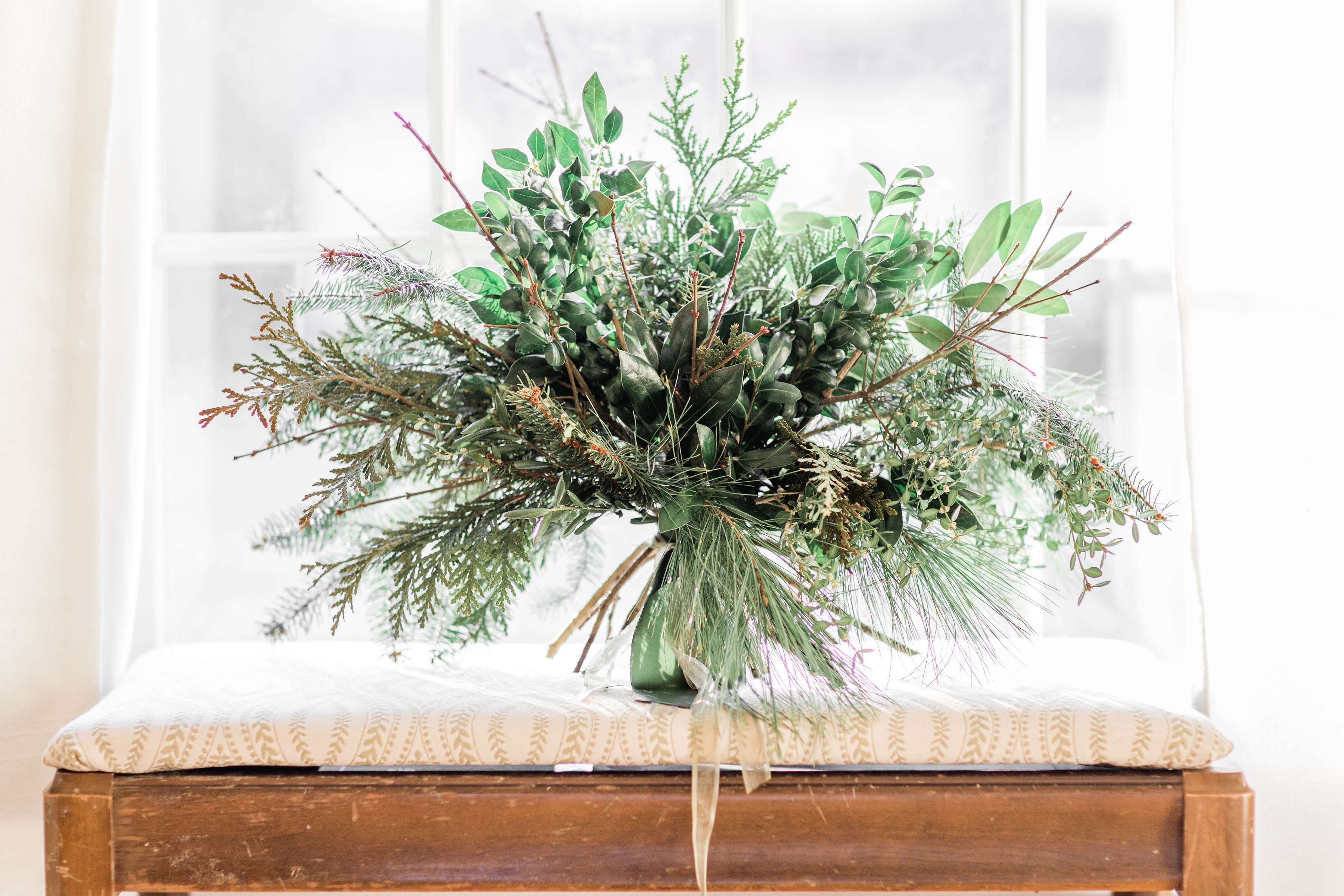 greenery bouquet, greenery wedding, winter greens, winter wedding, Emerald Design, evansville, evansville indiana, evansville florist