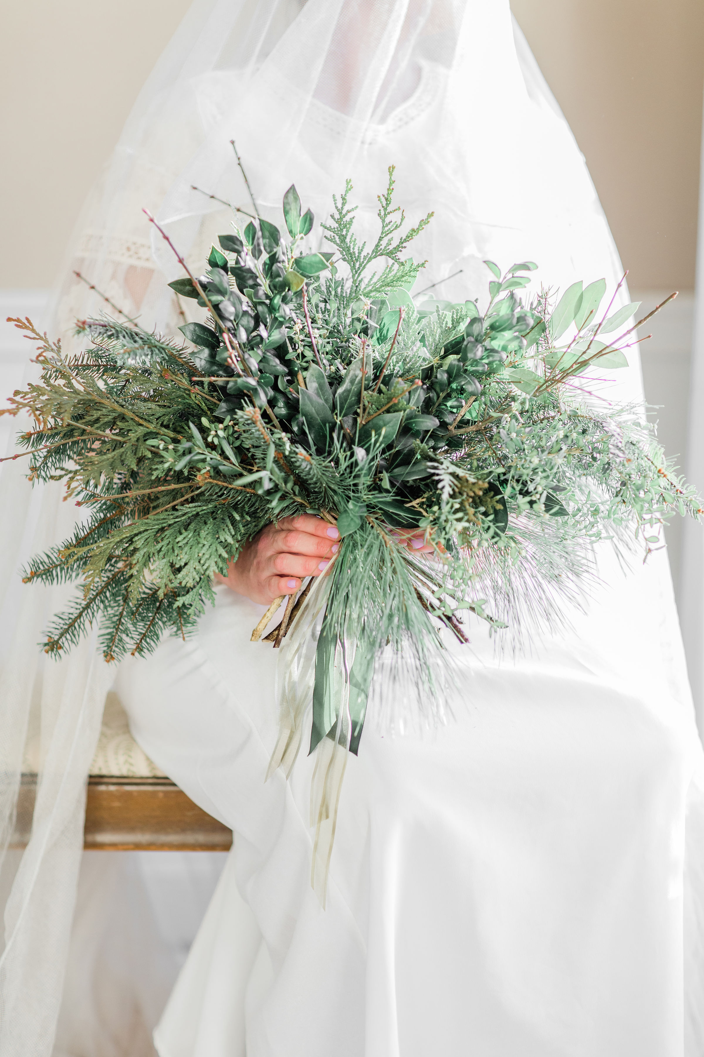 greenery bouquet, greenery wedding, bridal bouquet, winter wedding, winter greenery, winter decor, evansville wedding, evansville indiana wedding, evansville florist, evansville indiana florist, evansville wedding flowers