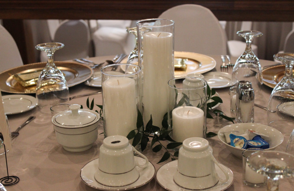 candles, wedding decor, wedding centerpiece, bauerhaus wedding, evansville wedding, evansville event design