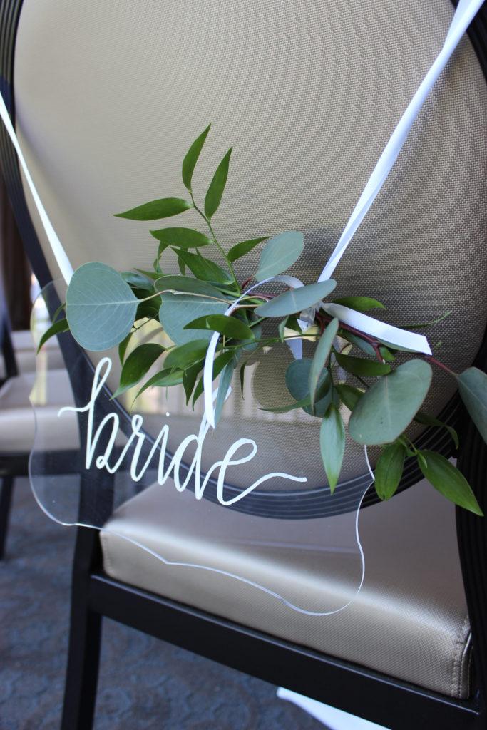 bride's chair decor