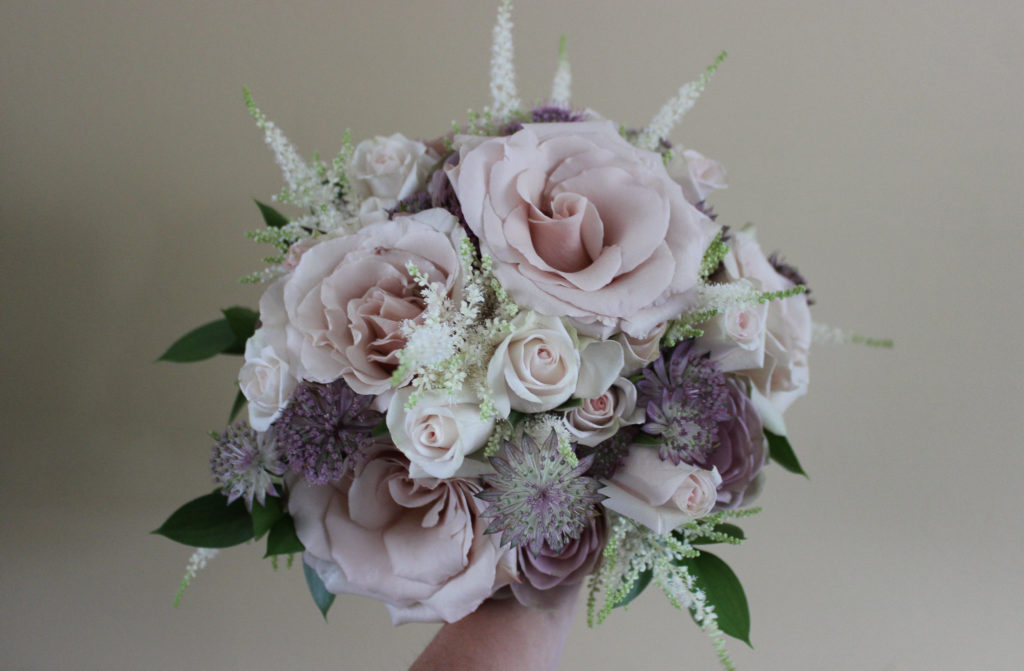 blush and mauve bridal bouquet