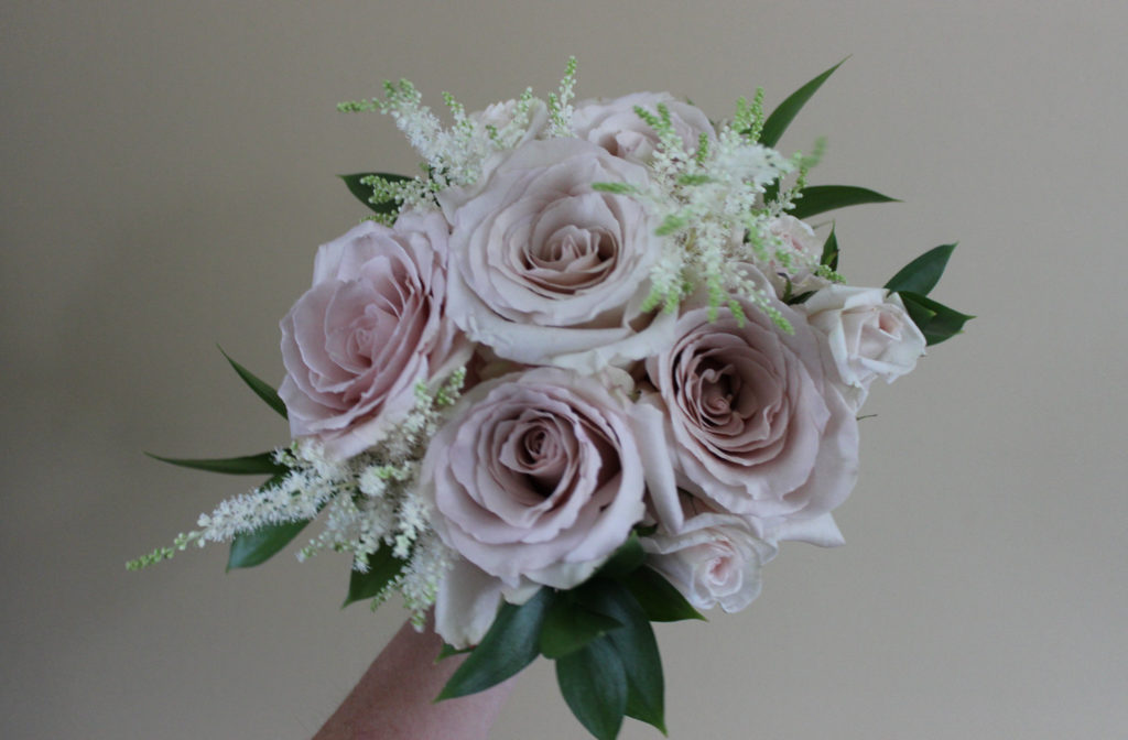mauve, white, and blush pink bridesmaid bouquet