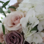 quicksand and amnesia roses with white hydrangea