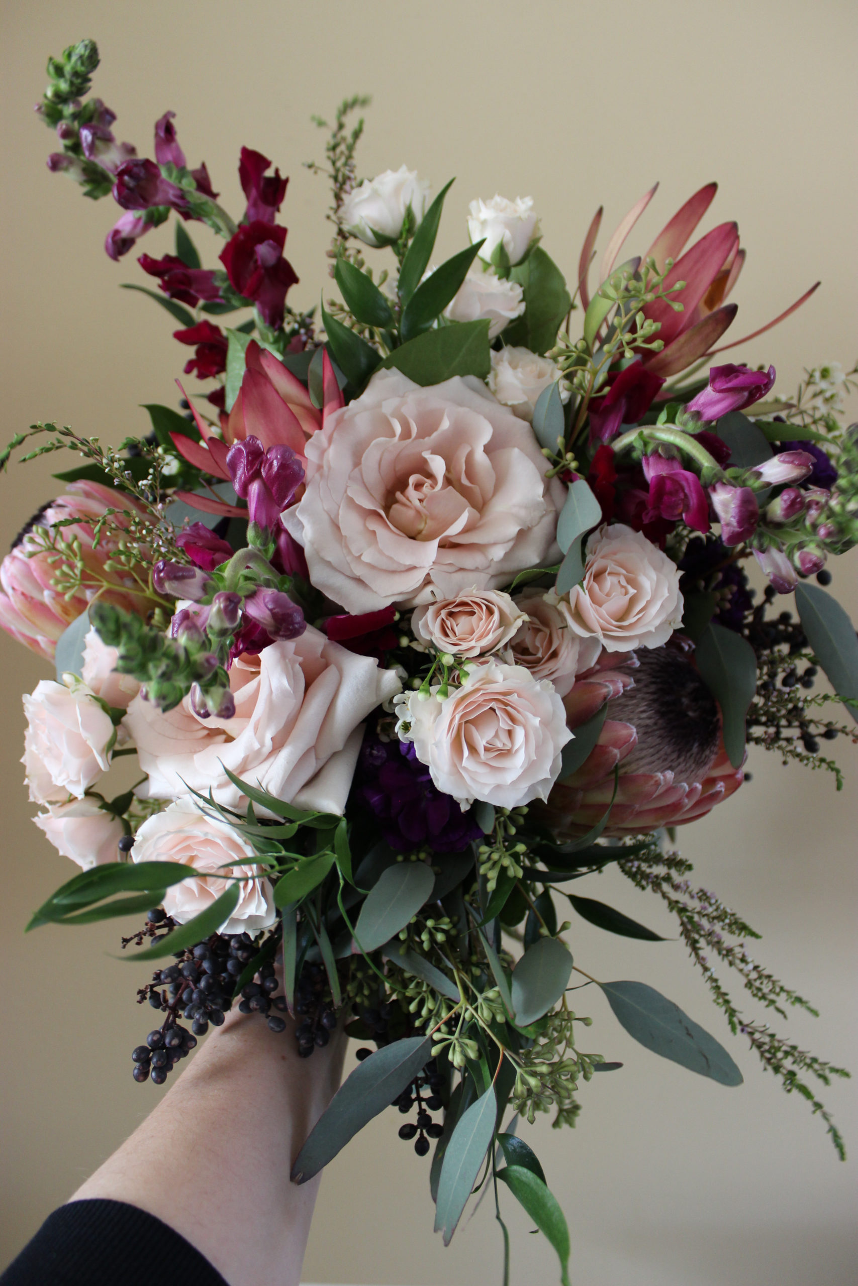 bridal bouquet created for a february wedding at city view in evansville