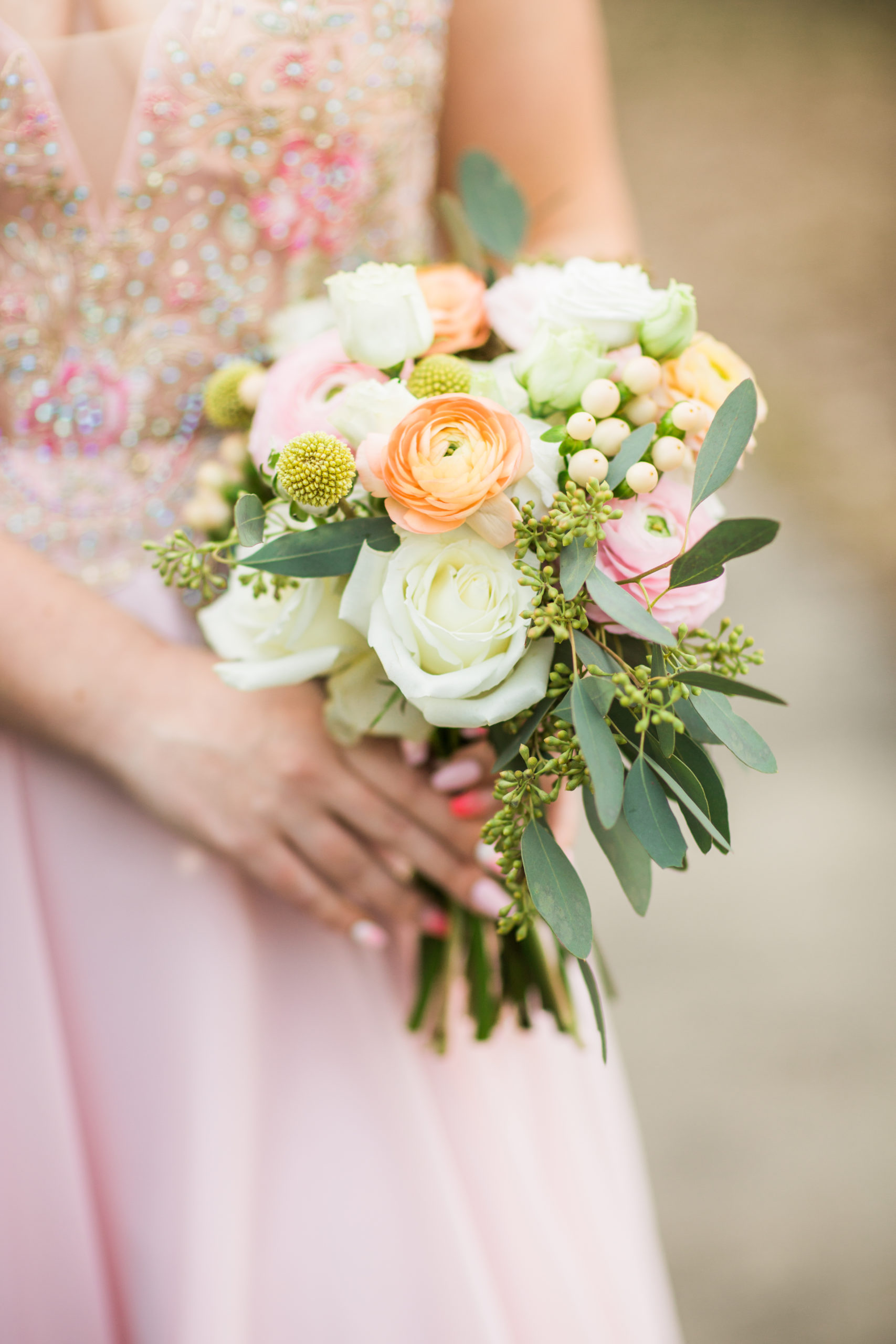 pastel prom bouquet by emerald design