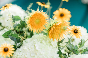 hydrangea, sunflowers, and black eyed susans