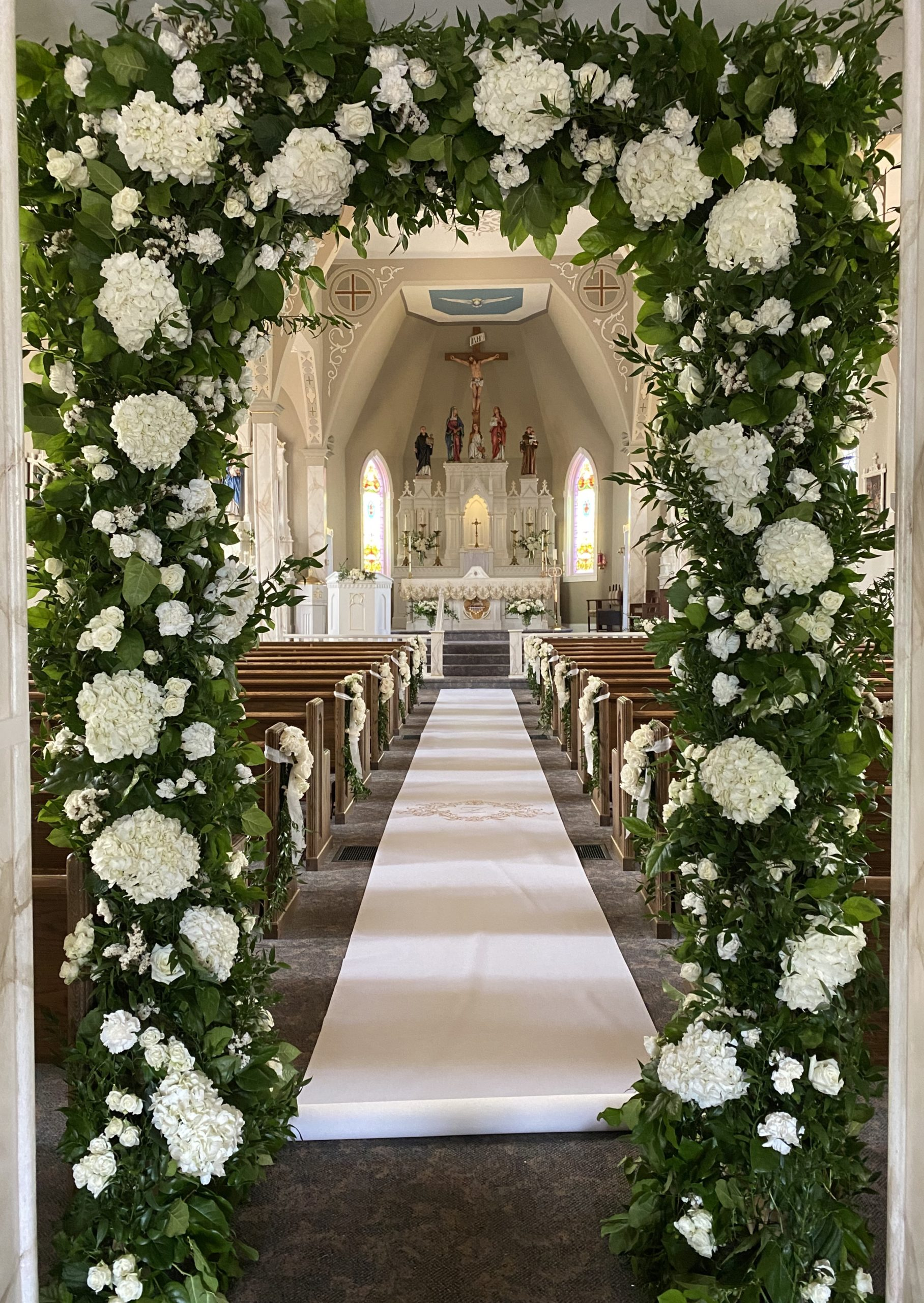 Aisle entry arch for a wedding at St. Bernard in Gibson County, Indiana